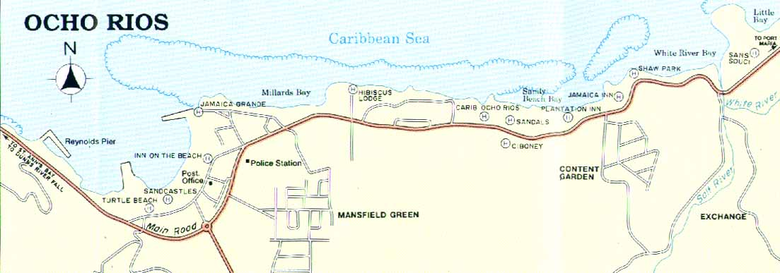 negril jamaica map. JAMAICA - OCHO RIOS - ROAD MAP